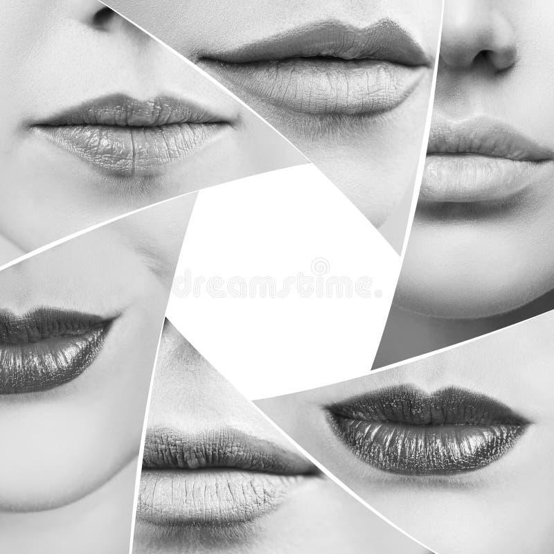 Collage de labios femeninos perfectos en forma del diafragma fotografía de archivo