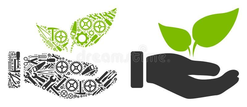 Collage de lanzamiento de la mano de Eco de las herramientas de la reparación ilustración del vector