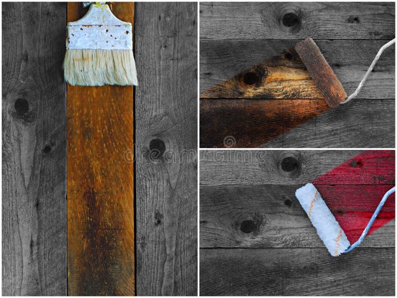 Collage de las brochas que manchan la madera fotos de archivo