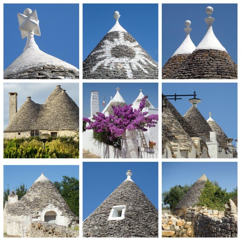 Collage de las casas del trulli, Apulia, Italia imagen de archivo libre de regalías