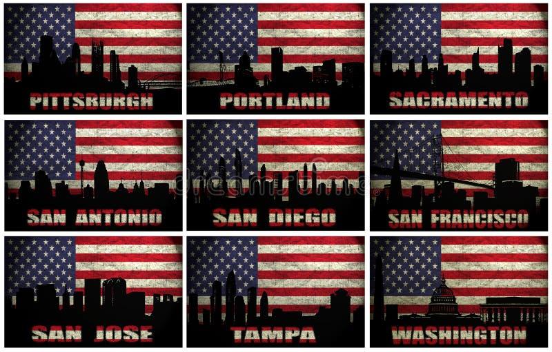 Collage de las ciudades famosas de los E.E.U.U. de P a W ilustración del vector