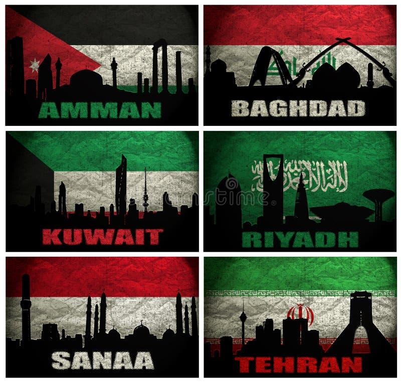 Collage de las ciudades famosas de Oriente Medio ilustración del vector