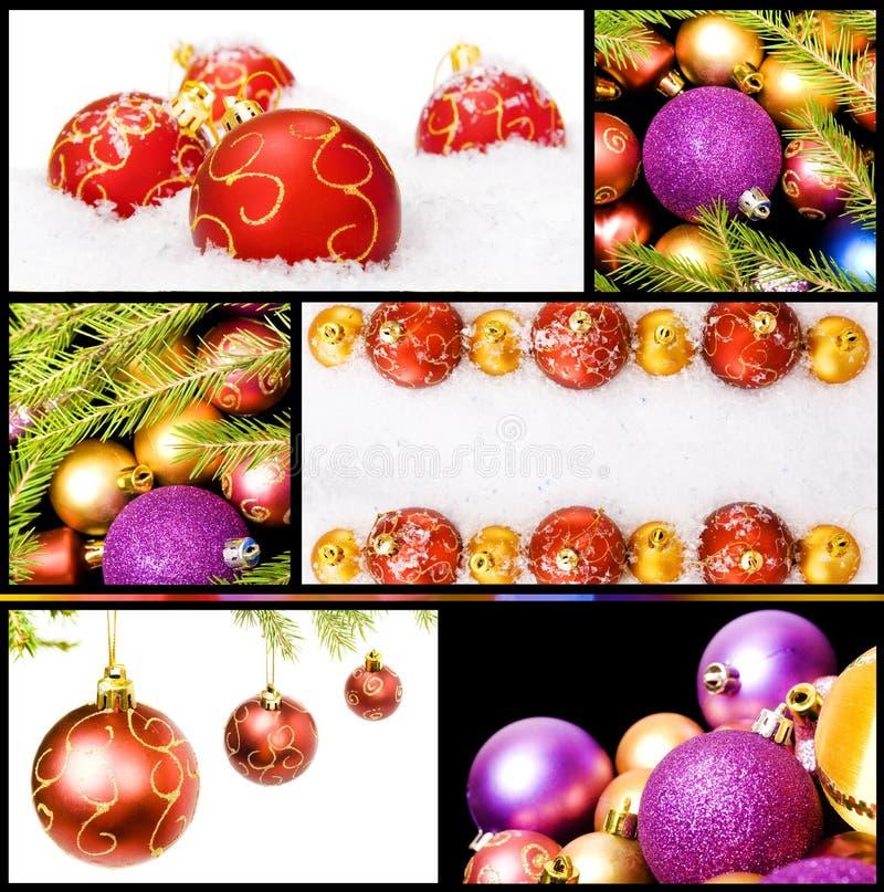 Collage de las decoraciones de la Navidad fotografía de archivo