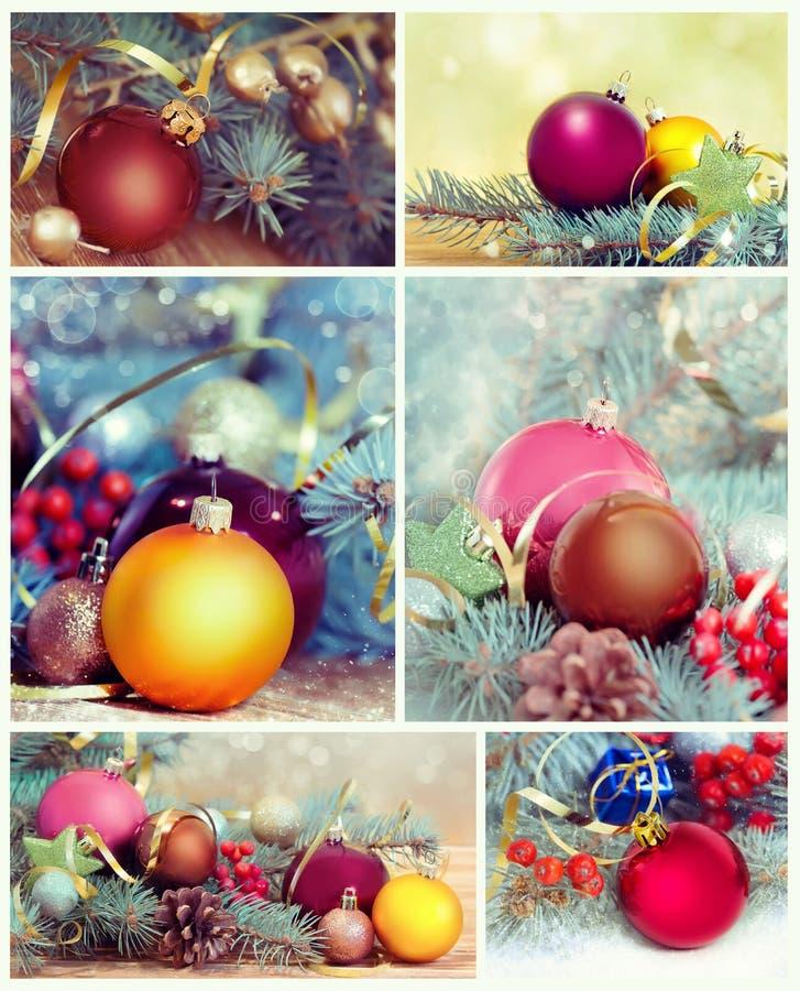 Collage de las decoraciones de la Navidad Sistema del ornamento del Año Nuevo fotografía de archivo libre de regalías