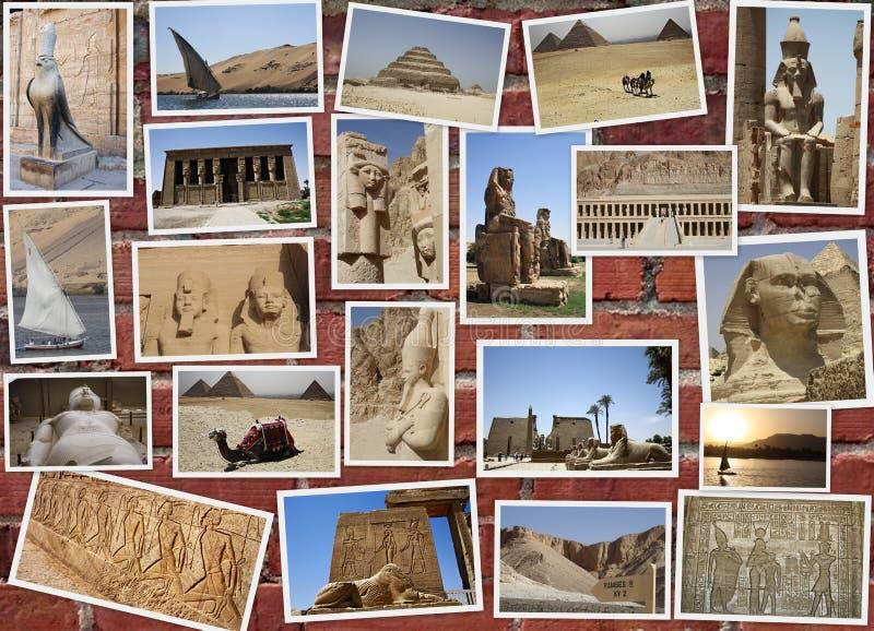 COLLAGE DE LAS ESTATUAS EN EGIPTO imagen de archivo
