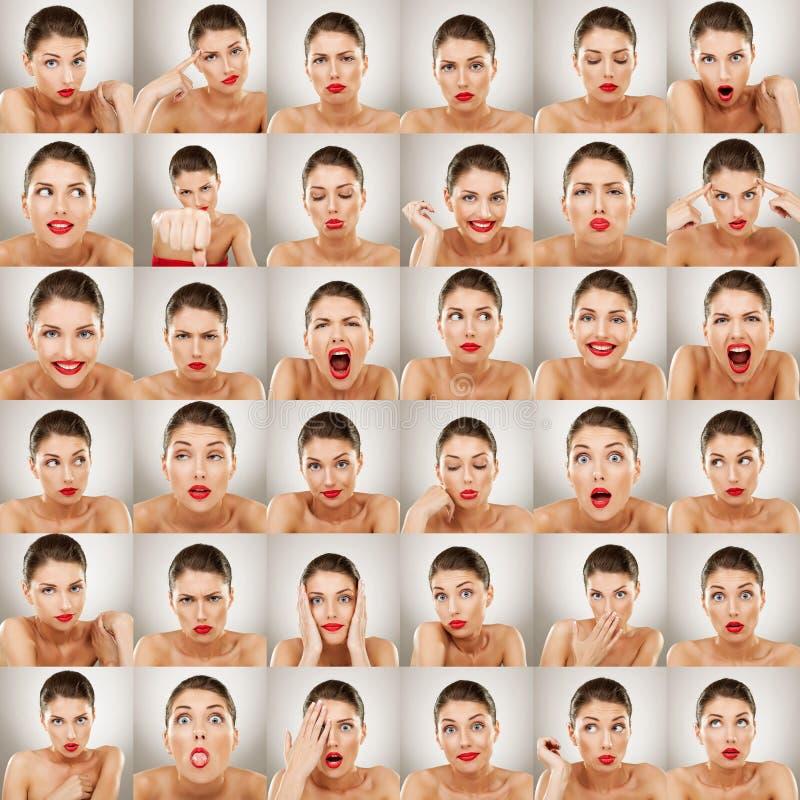 Collage de las expresiones fotografía de archivo