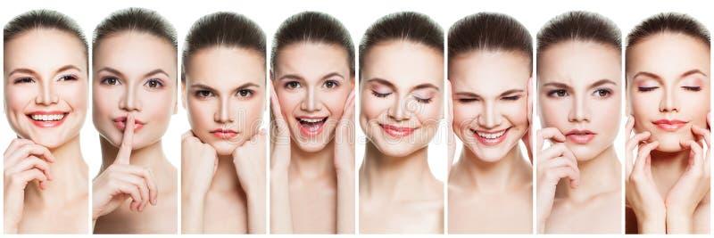 Collage de las expresiones femeninas negativas y positivas de la cara Fije de la mujer joven que expresa diversas emociones y ges fotografía de archivo libre de regalías