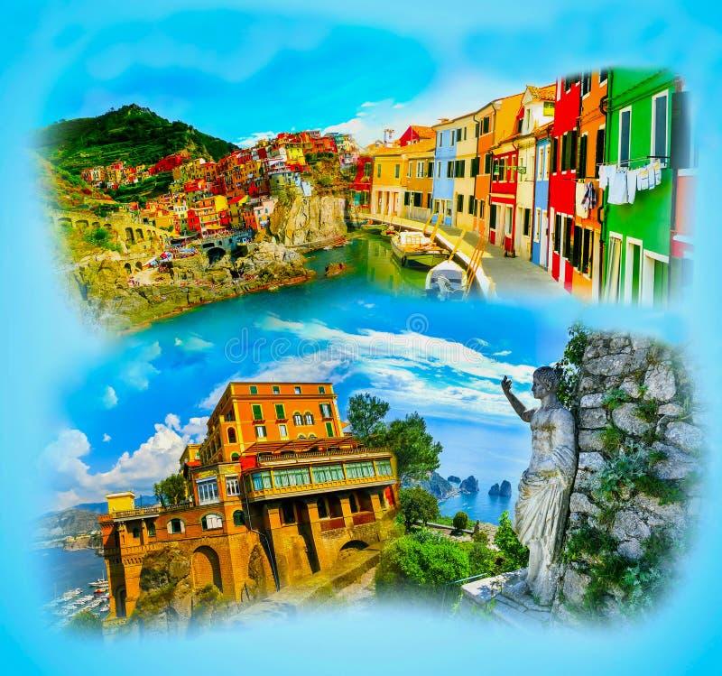 Collage de las fotos de Italia en fondo azul ilustración del vector
