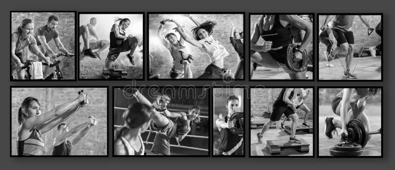 Collage de las fotos del deporte con la gente imagenes de archivo