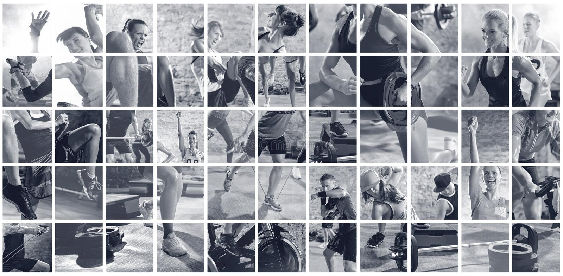 Collage de las fotos del deporte con la gente imagen de archivo