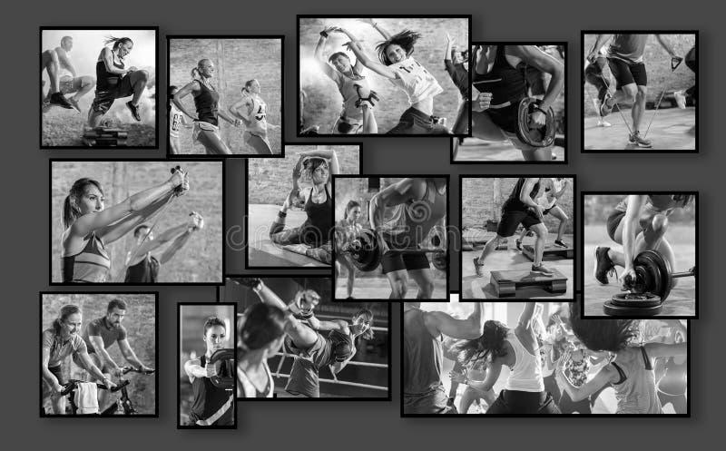 Collage de las fotos del deporte con la gente imágenes de archivo libres de regalías