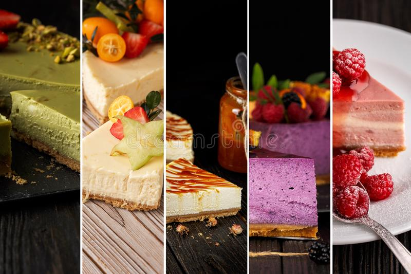 Collage de las fotos del pastel de queso imagenes de archivo