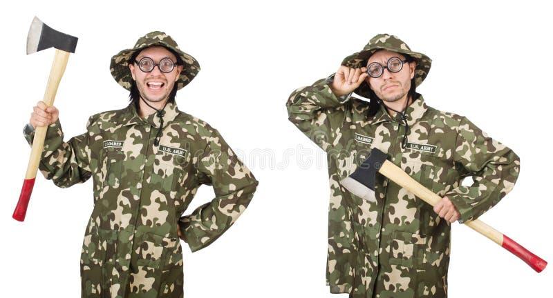 Collage de las fotos divertidas del soldado fotos de archivo