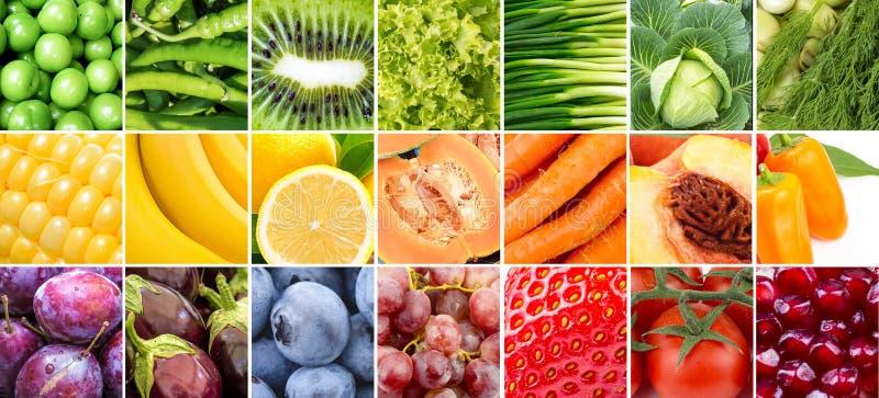 Collage de las frutas y verdura fotos de archivo