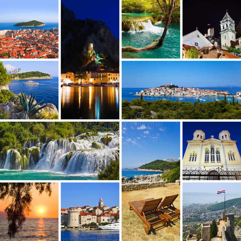 Collage de las imágenes del recorrido de Croatia imagen de archivo