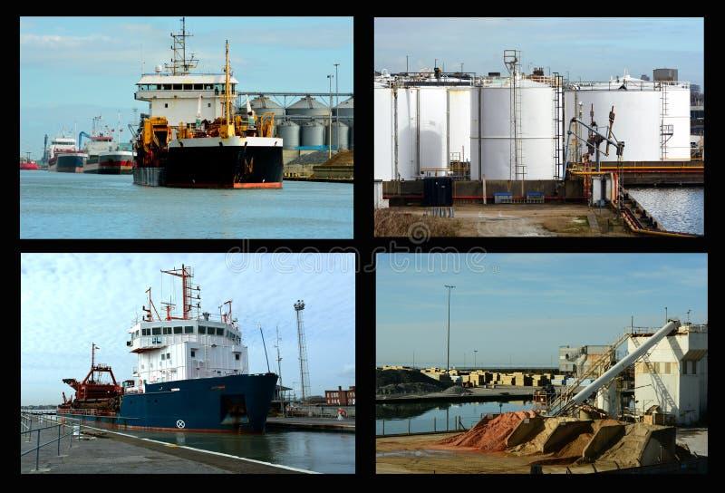 Collage de las naves y de las importaciones del área de embarque imágenes de archivo libres de regalías