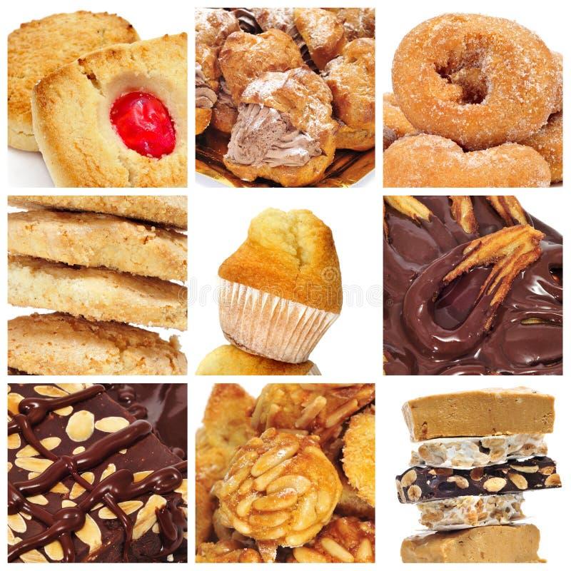 Collage de las pasteleses y dulces imagen de archivo libre de regalías