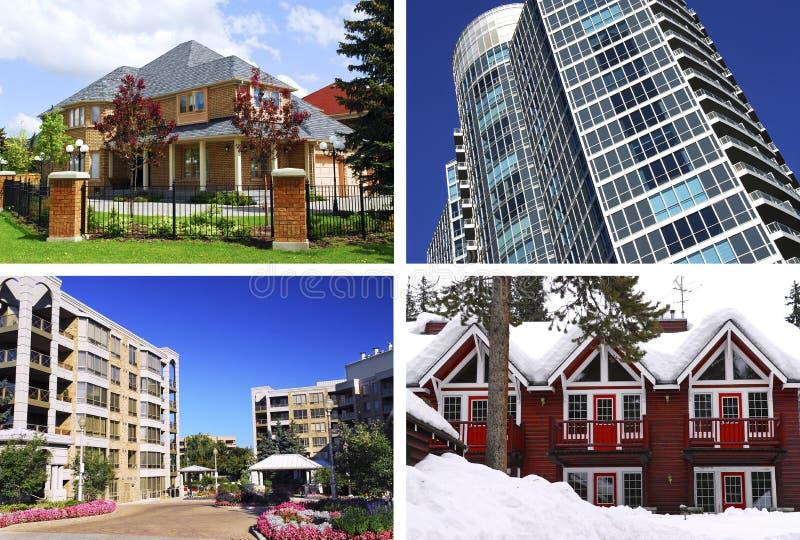 Collage de las propiedades inmobiliarias fotos de archivo libres de regalías