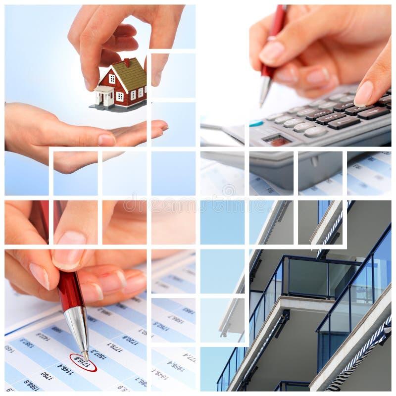 Collage de las propiedades inmobiliarias. foto de archivo libre de regalías