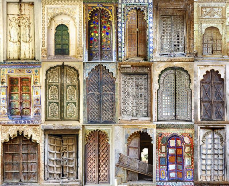Collage de las puertas indias antiguas foto de archivo