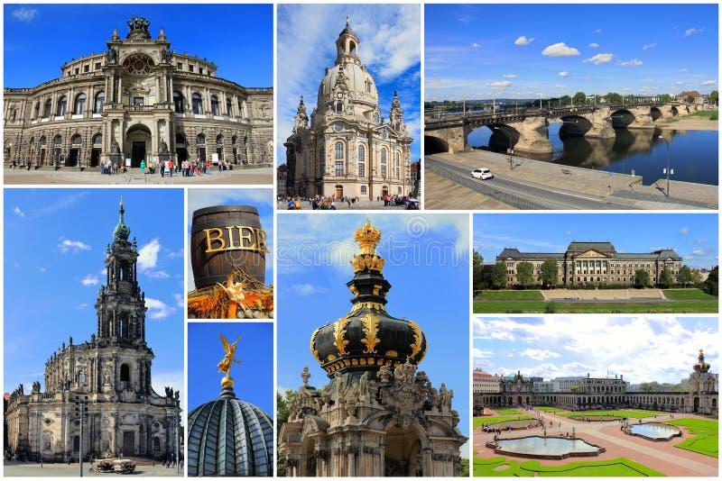 Collage de las señales de Dresden, Sajonia en Alemania imágenes de archivo libres de regalías