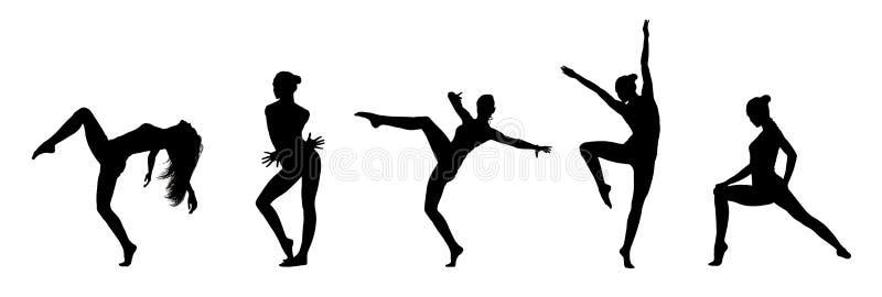 Collage de las siluetas negras del bailarín aisladas en blanco ilustración del vector