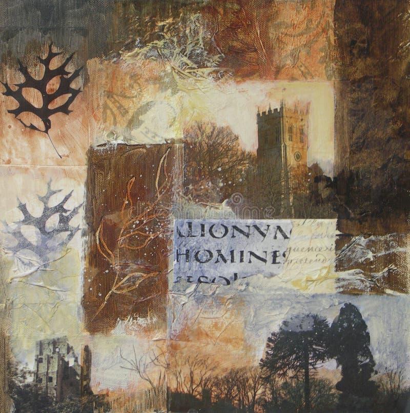 Collage de las técnicas mixtas con el castillo y la iglesia imágenes de archivo libres de regalías