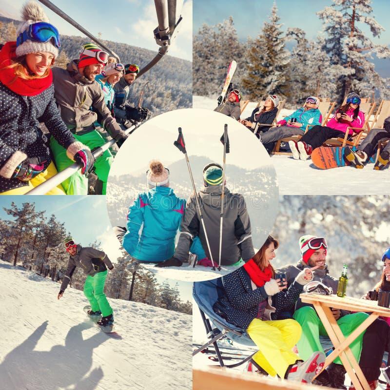 Collage de las vacaciones de invierno en la estación de esquí fotografía de archivo libre de regalías
