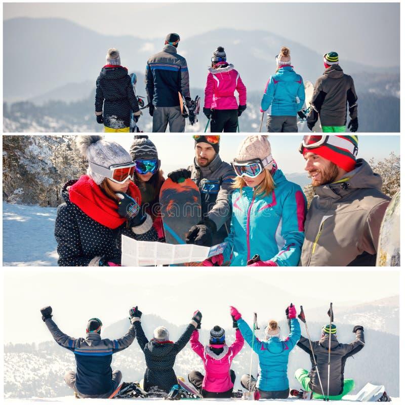 Collage de las vacaciones de invierno en la estación de esquí fotos de archivo libres de regalías