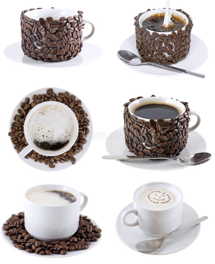 Collage de las varias tazas de café. Aislado imagen de archivo libre de regalías