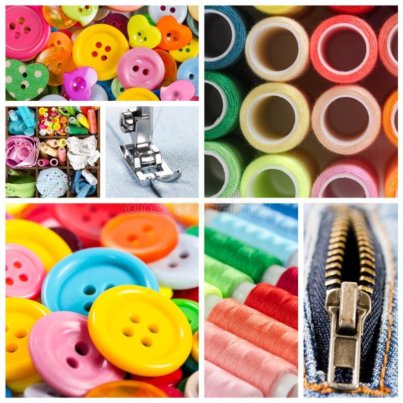 Collage de los accesorios para coser fotos de archivo libres de regalías