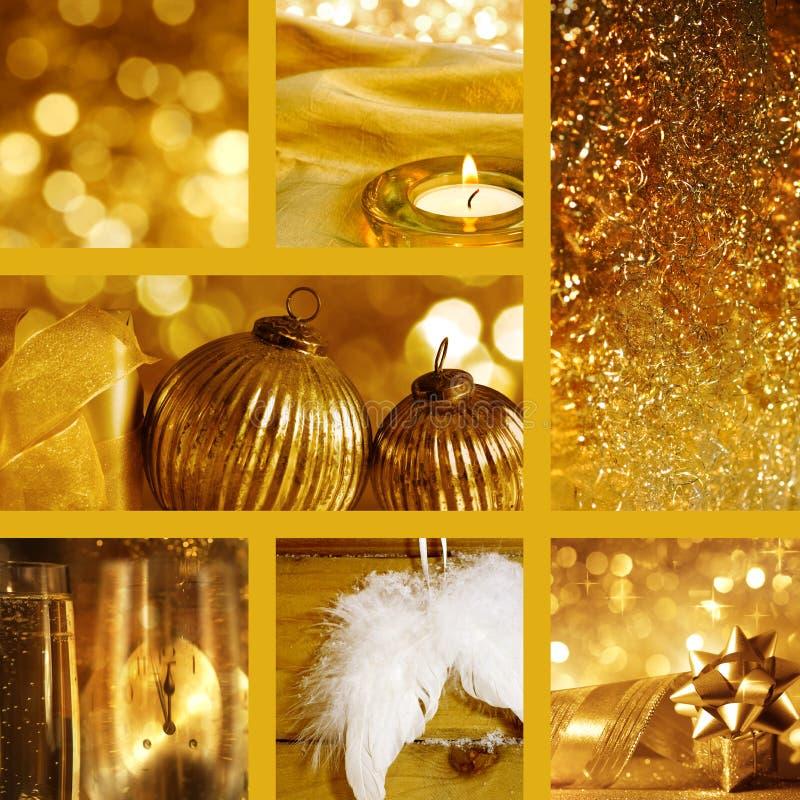 Collage de los adornos de la Navidad fotografía de archivo