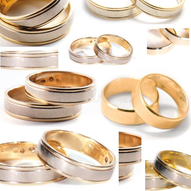 Collage de los anillos de bodas fotos de archivo
