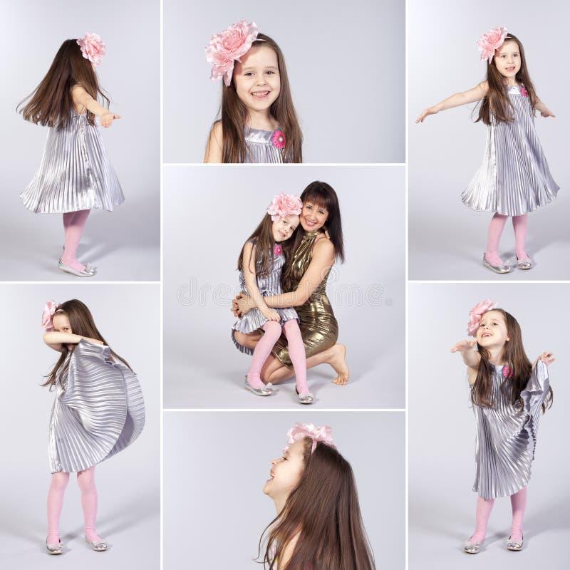 Collage de los cuadros felices de la niña imagenes de archivo