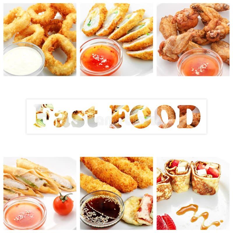 Collage de los diversos productos de los alimentos de preparación rápida en el fondo blanco fotos de archivo