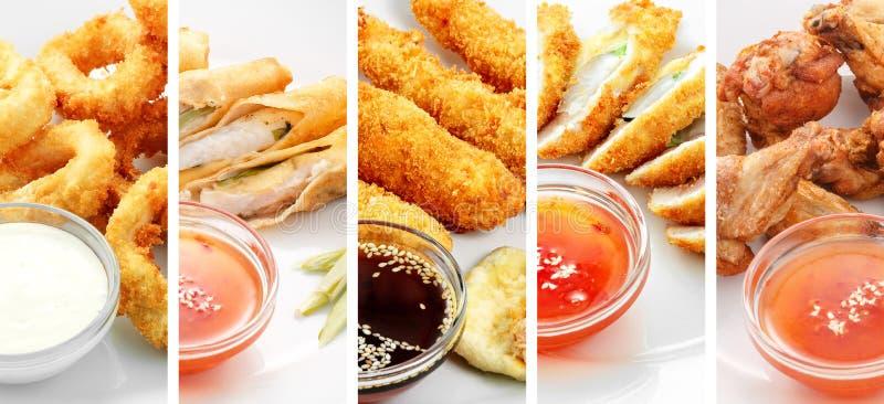 Collage de los diversos productos de los alimentos de preparación rápida en el fondo blanco foto de archivo libre de regalías