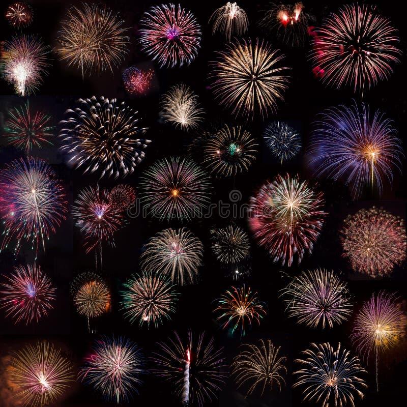Collage de los fuegos artificiales imágenes de archivo libres de regalías