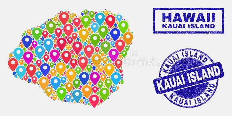 Collage de los indicadores del mapa del mapa de la isla de Kauai y de los sellos rasguñados del sello ilustración del vector