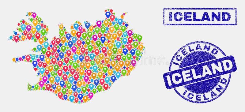 Collage de los indicadores del mapa de los sellos del mapa y de la desolación de Islandia stock de ilustración