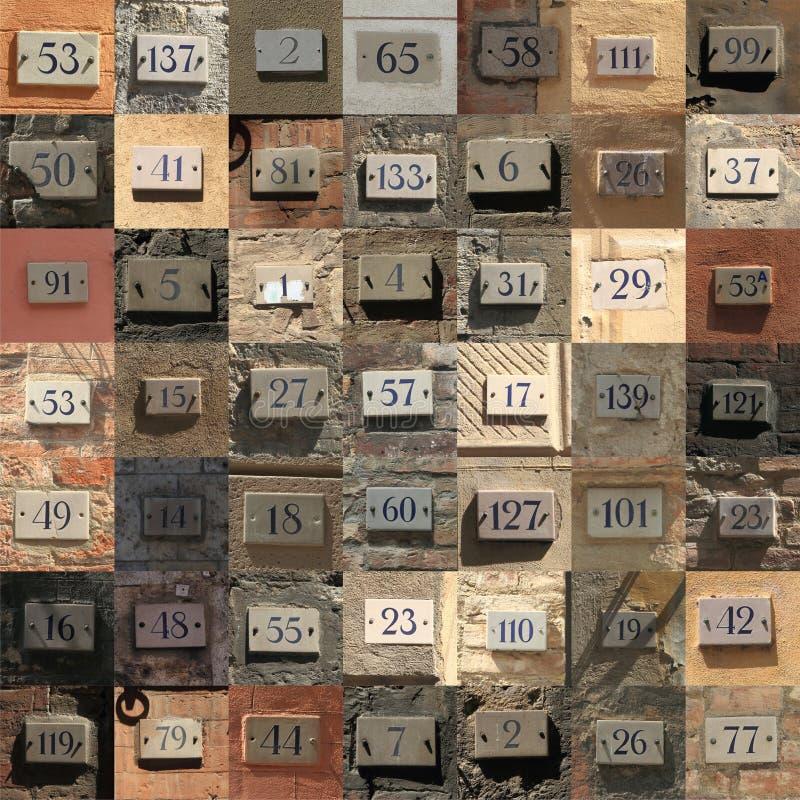 Collage de los números de casa resistidos fotografía de archivo