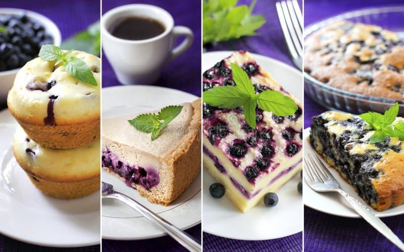 Collage de los pasteles dulces con los arándanos foto de archivo libre de regalías