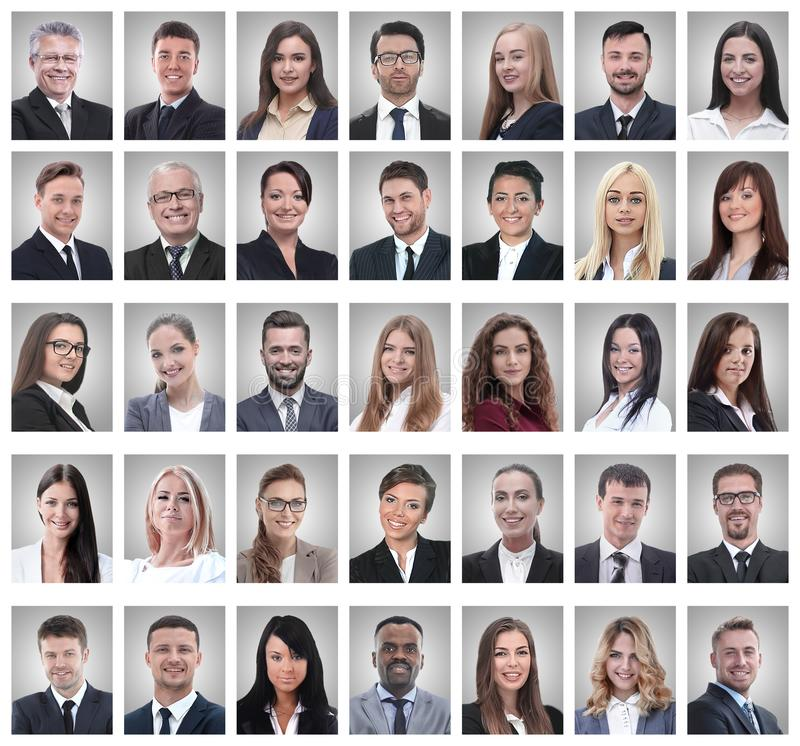 Collage de los retratos de hombres de negocios jovenes acertados imagenes de archivo