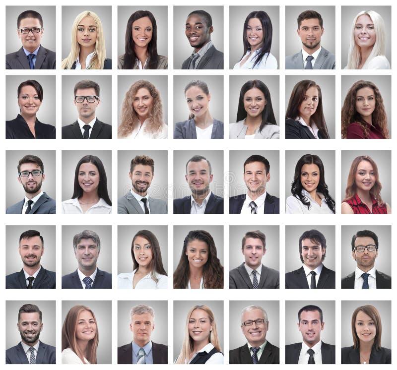 Collage de los retratos de hombres de negocios jovenes acertados foto de archivo