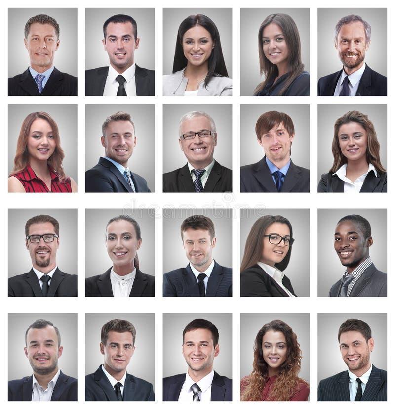 Collage de los retratos de hombres de negocios jovenes acertados fotos de archivo