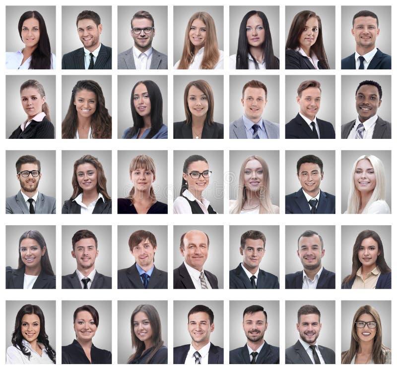 Collage de los retratos de hombres de negocios jovenes acertados imágenes de archivo libres de regalías