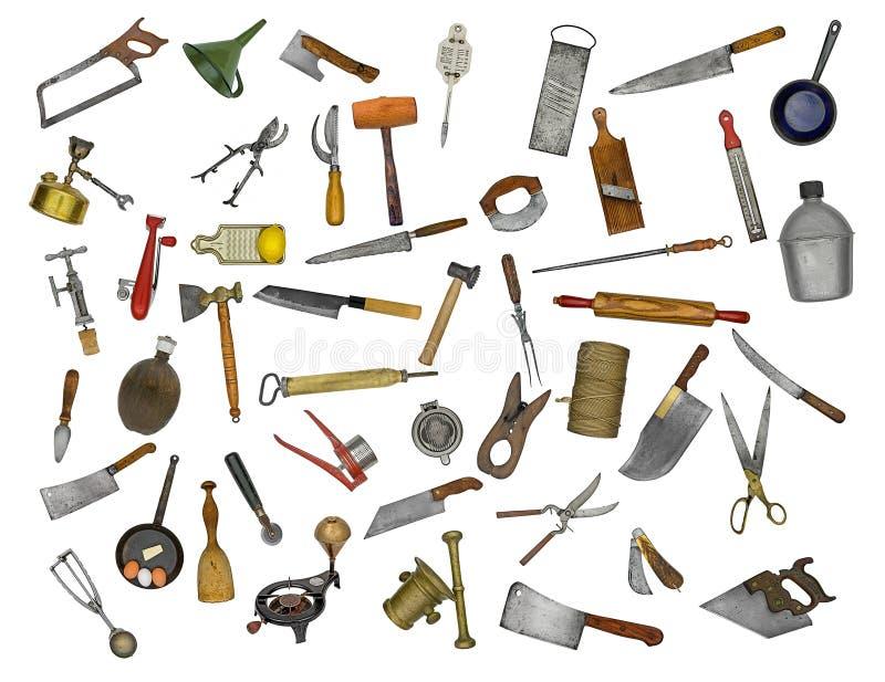 Collage de los utensilios de la cocina del vintage imagen for Utensilios de cocina vintage