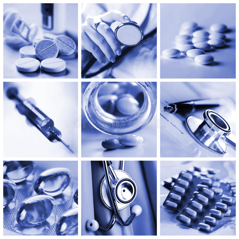 Collage de médecine image stock