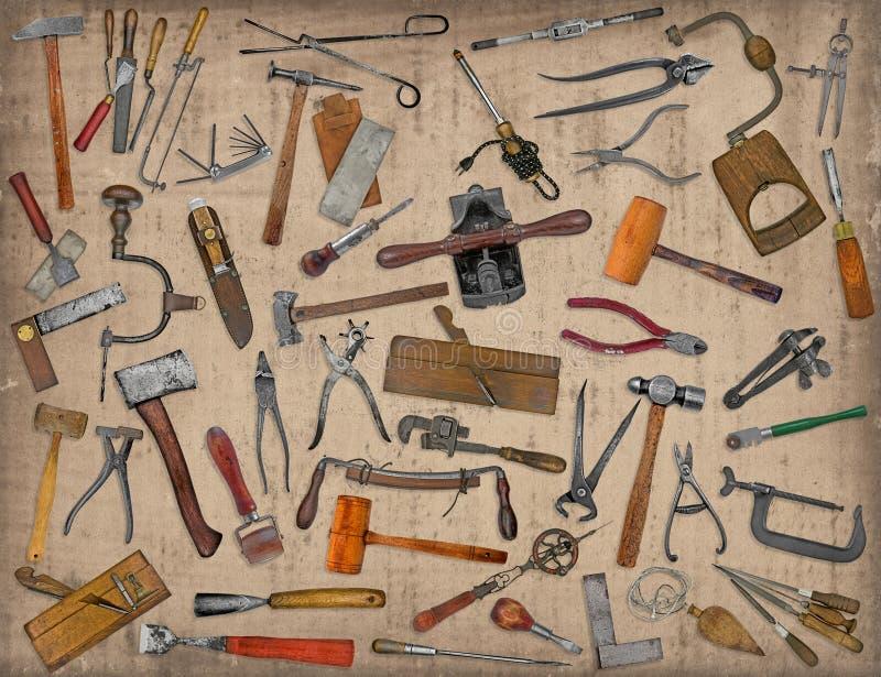 Collage de mélange d'outils de vintage photos stock