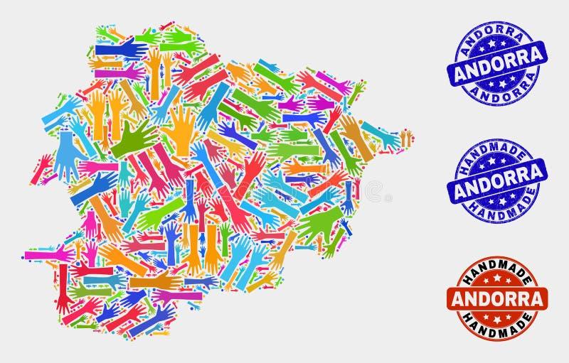 Collage de main de carte de l'Andorre et de joints faits main texturisés illustration libre de droits