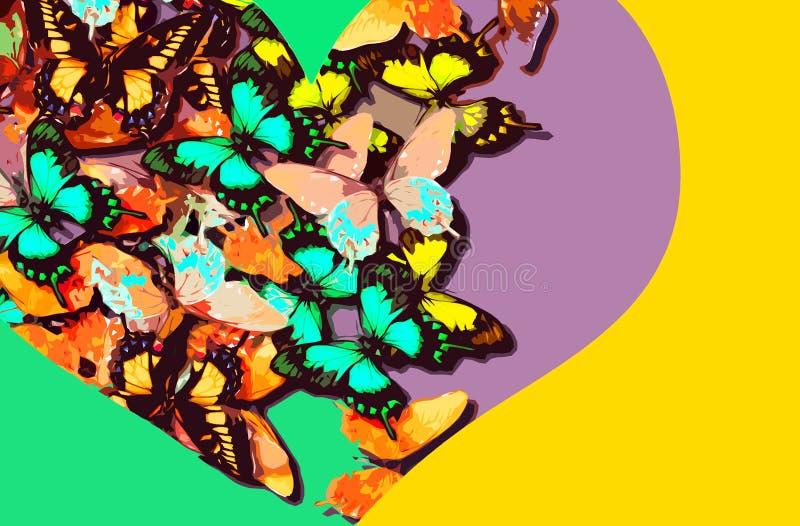 Collage de mariposas coloridas dentro de una forma del corazón en un fondo brillante ilustración del vector